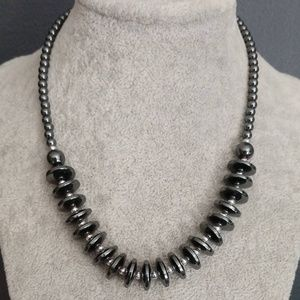 Hematite and silver beaded necklace